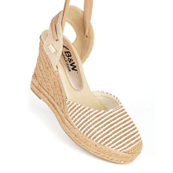 Wedge Shoe Espadrilles Capri Beige Stripes