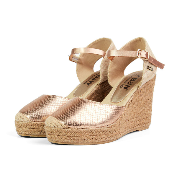 Wedge Shoe Espadrilles Capri Snake Rose Gold