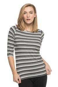 Yala Designs 3/4 Sleeve Tee-Stripes