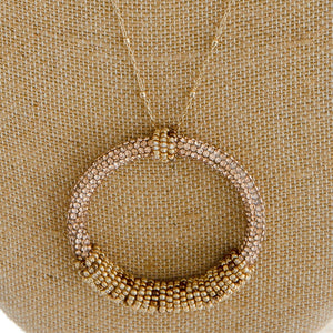 Long, Satellite Chain Necklace Gold/Brown