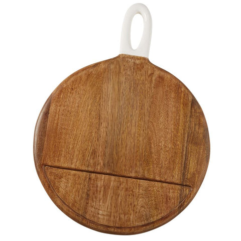 Round Wood Board with Enameled Handle