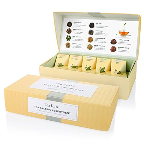 Tea Forte Petite Presentation Box Sampler- 10 Handcrafted Pyramid Tea Infusers