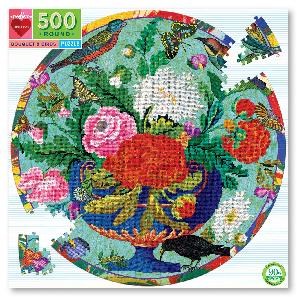 Bouquet and Birds Round Puzzle