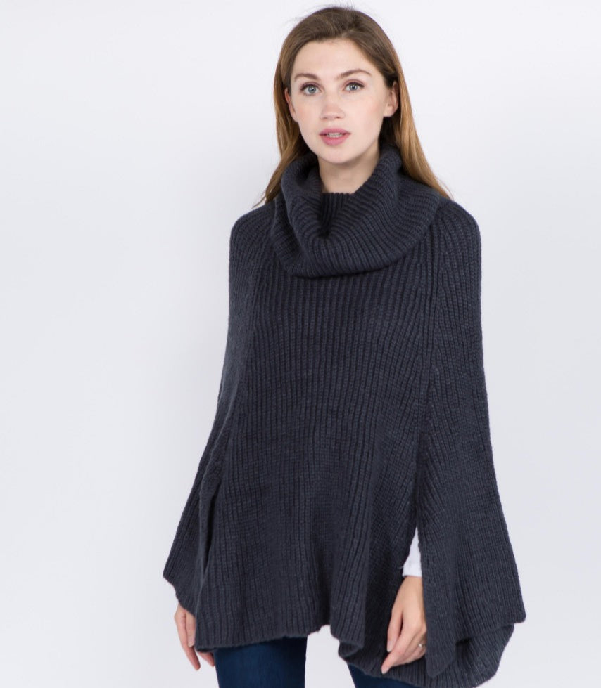 Turtleneck Poncho-- Black