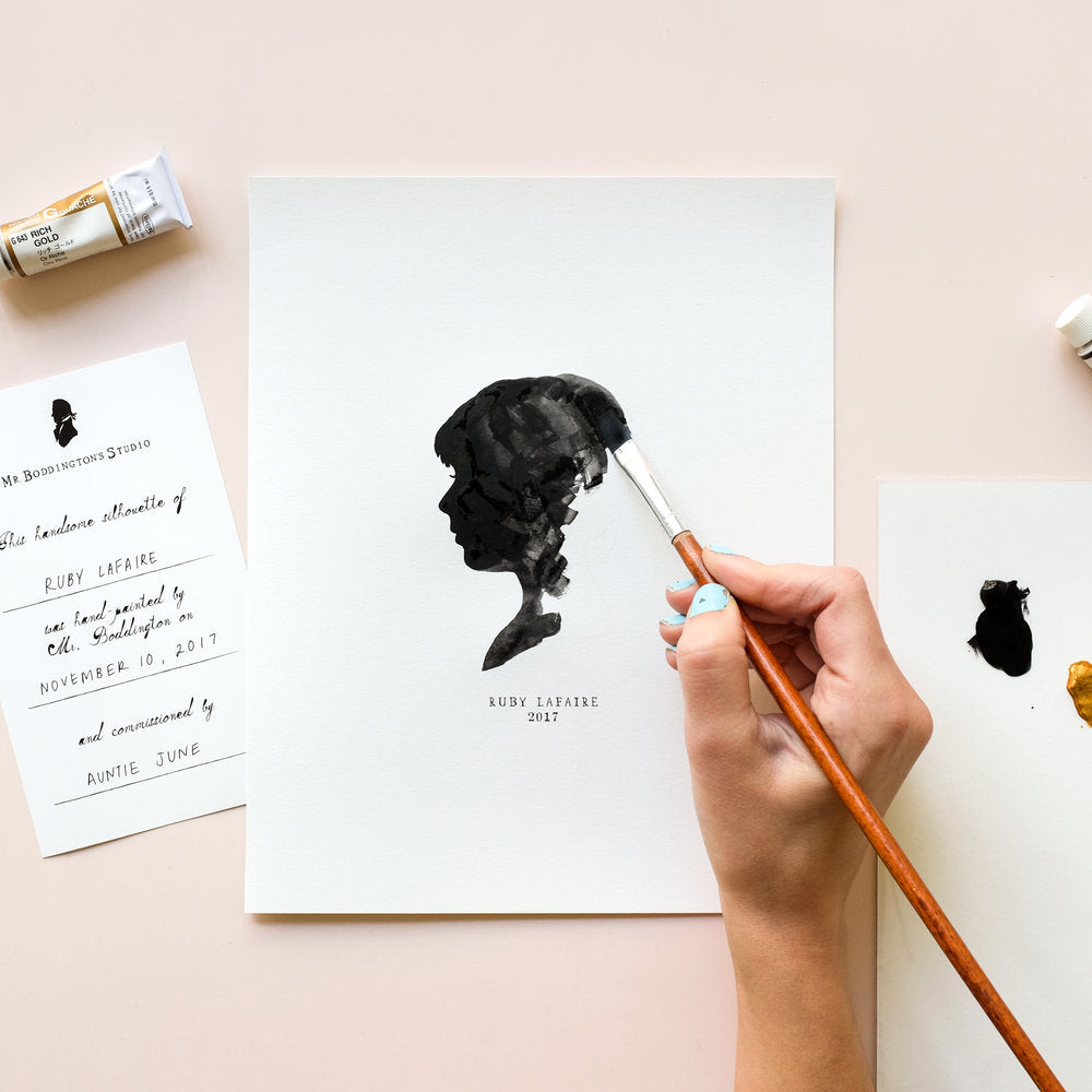 Hand-painted Classic Silhouette Pet Portrait
