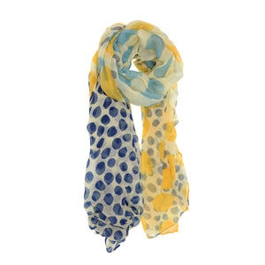 Seeing Spots Scarf- Yellow + Blue