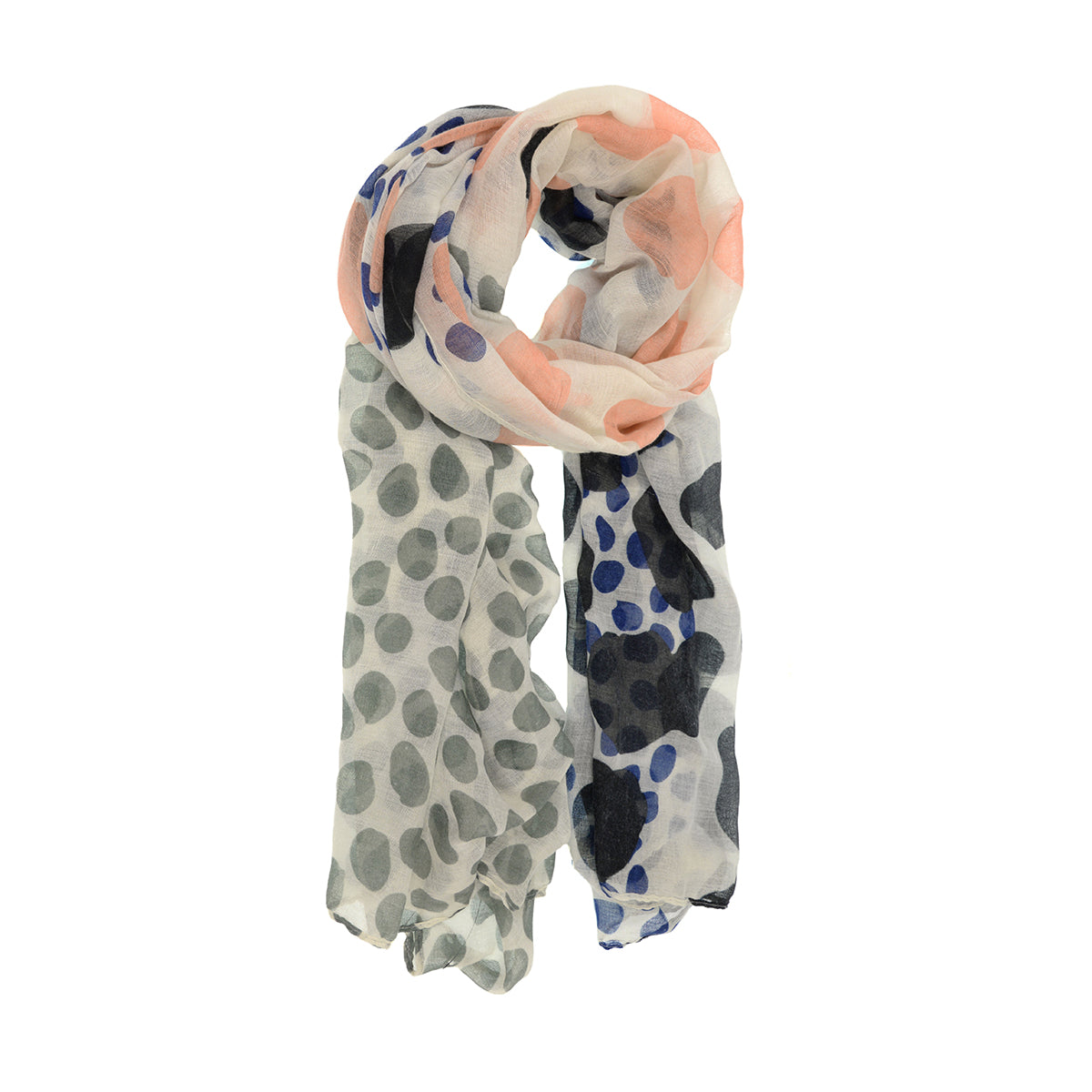 Seeing Spots Scarf- Gray + Pink