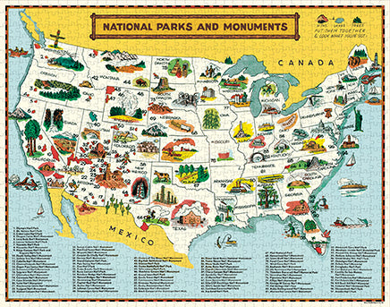 NEW! Vintage Style Puzzle - Map of the National Parks
