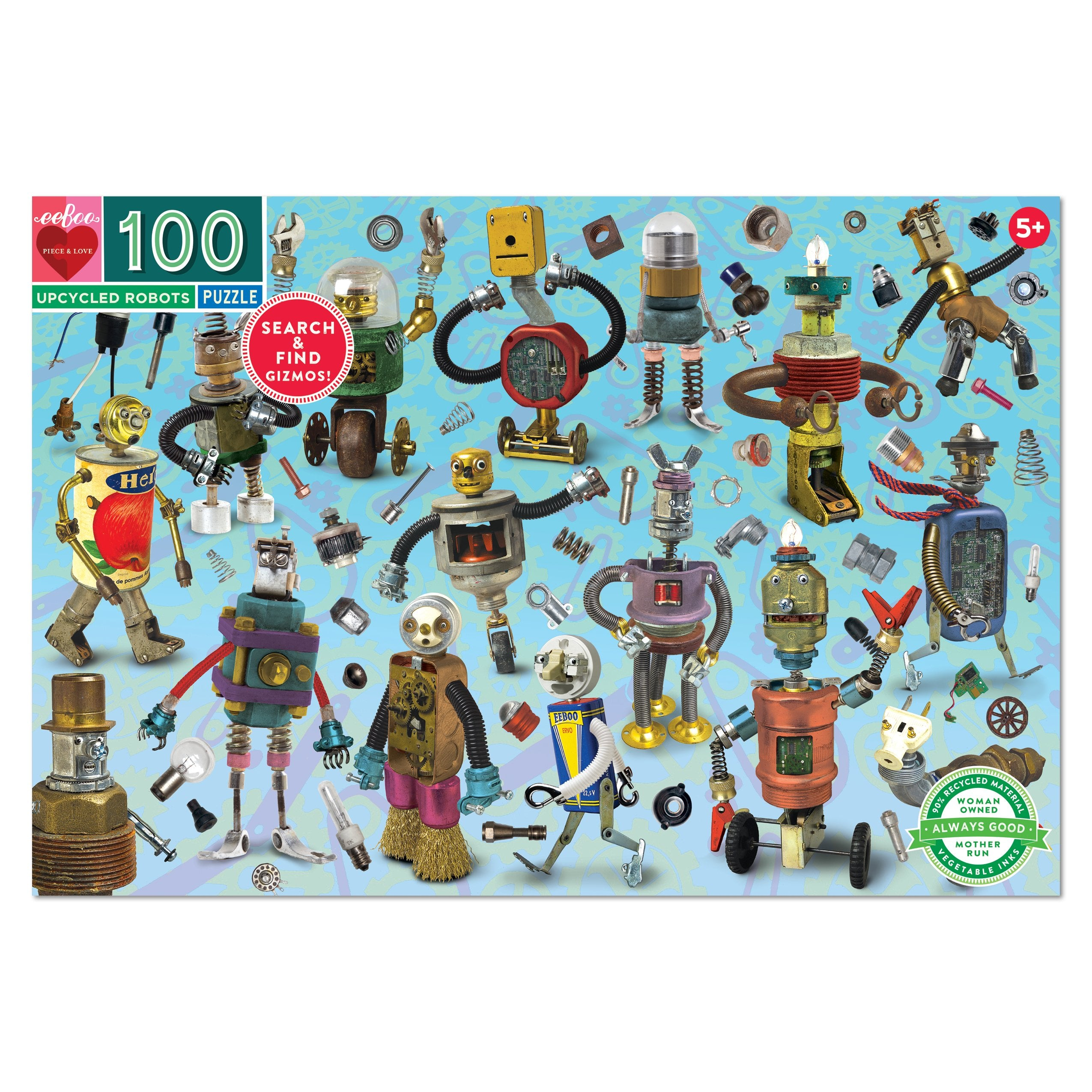 Upcycled Robots 100 Piece Puzzle