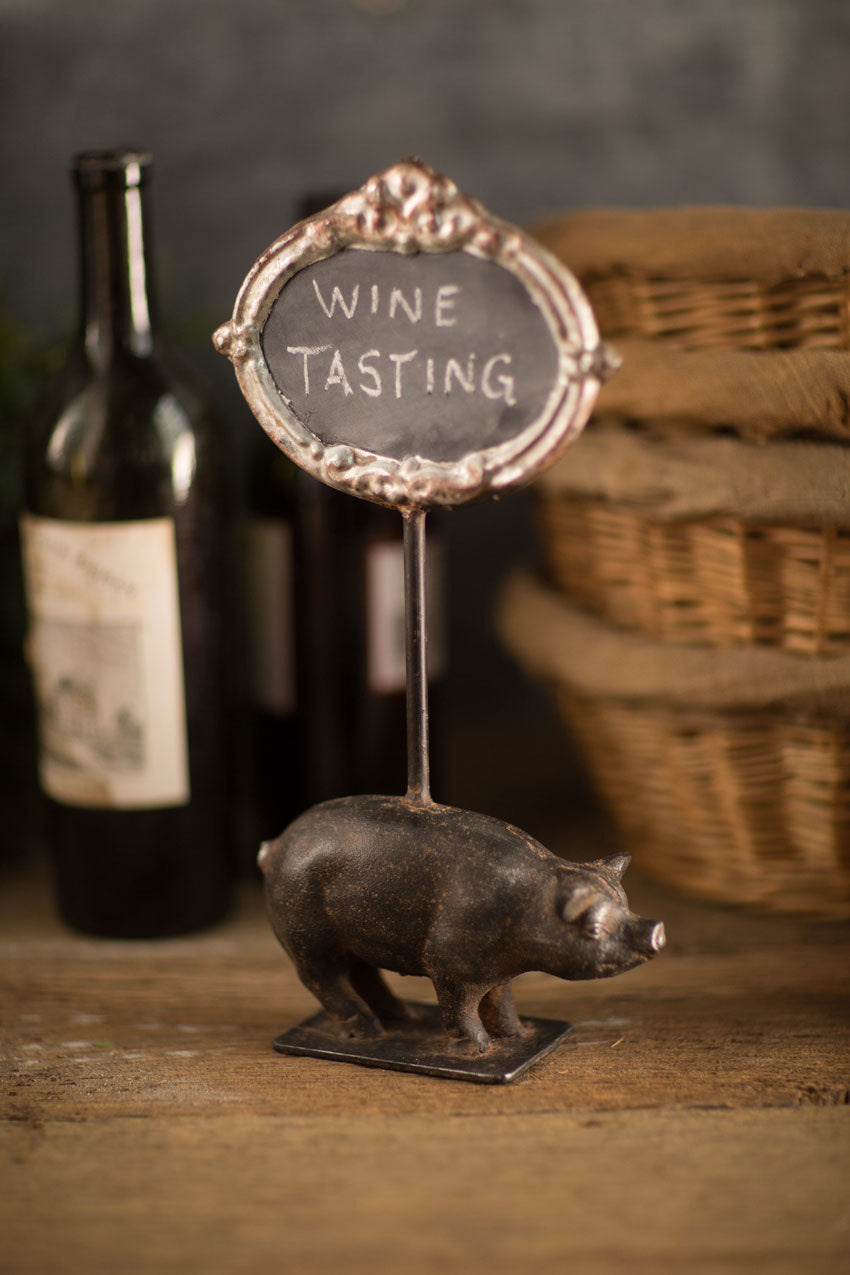 Cast Iron Pig Chalk Sign