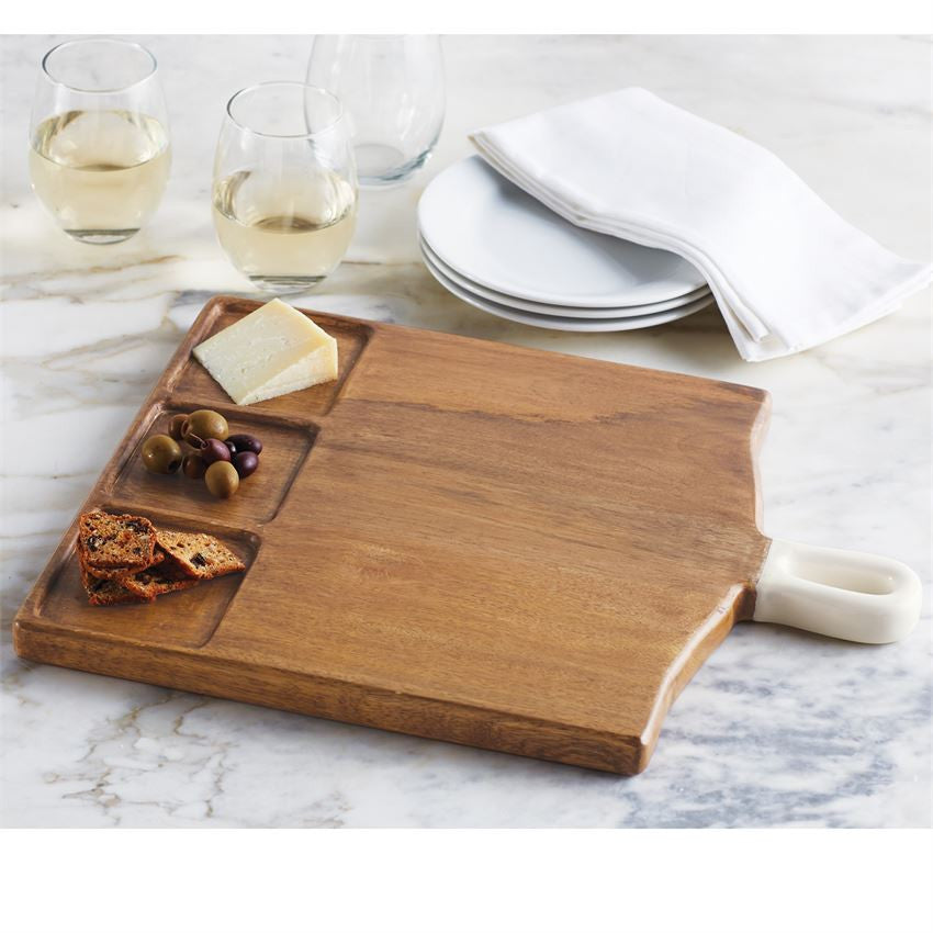 Square Wood Board with Enameled Handle
