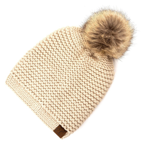 Horizontal Knit Faux Fur Pom Back Drawstring- Light Beige