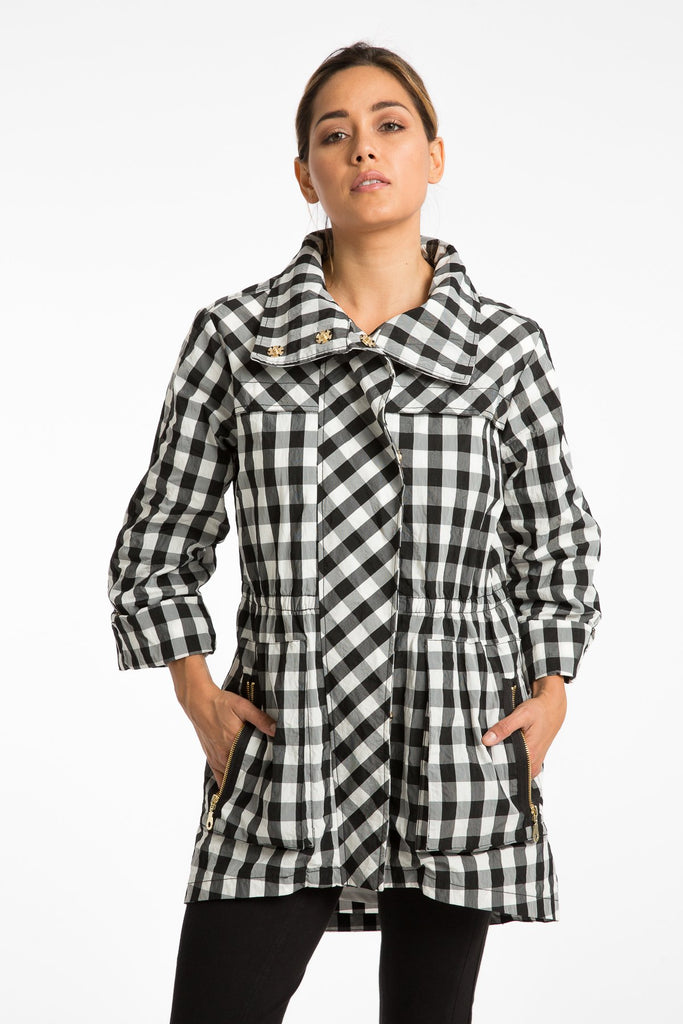 NEW! The Anorak - Crinkle Nylon Black White