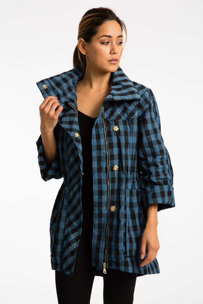 NEW! The Anorak - Crinkle Nylon Gingham Blue