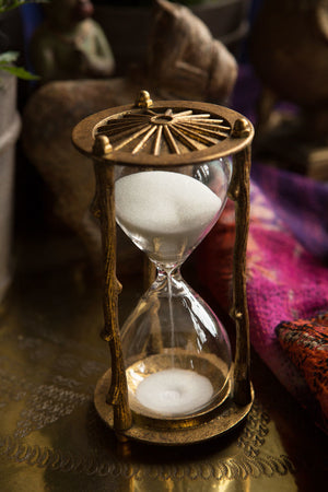 Pewter Twig Hourglass in Gold Leaf