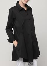 Double Button Blouse-Black