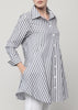 Double Button Blouse-Charcoal Stripe