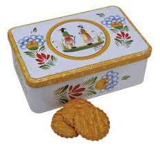 French Brittany Galettes (Butter Cookies) in Quimper Tin