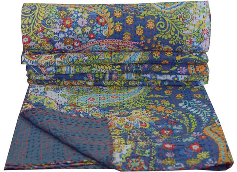 Kantha Throw-French Blue Paisley