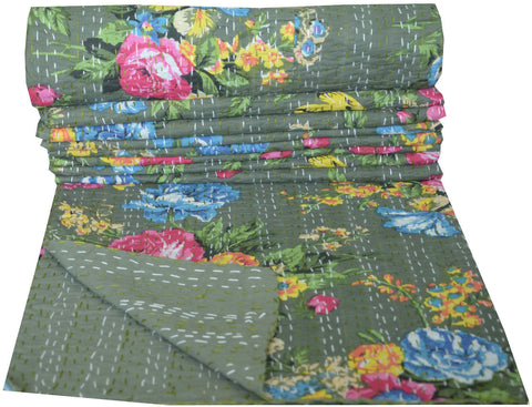 Kantha Throw-Bottle Green