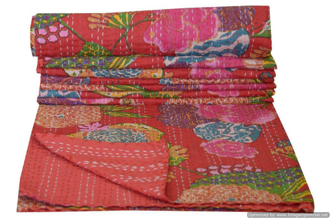 Kantha Throw-Red Floral