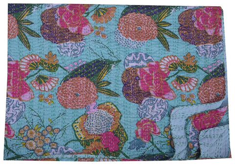 Kantha Throw-Turquoise