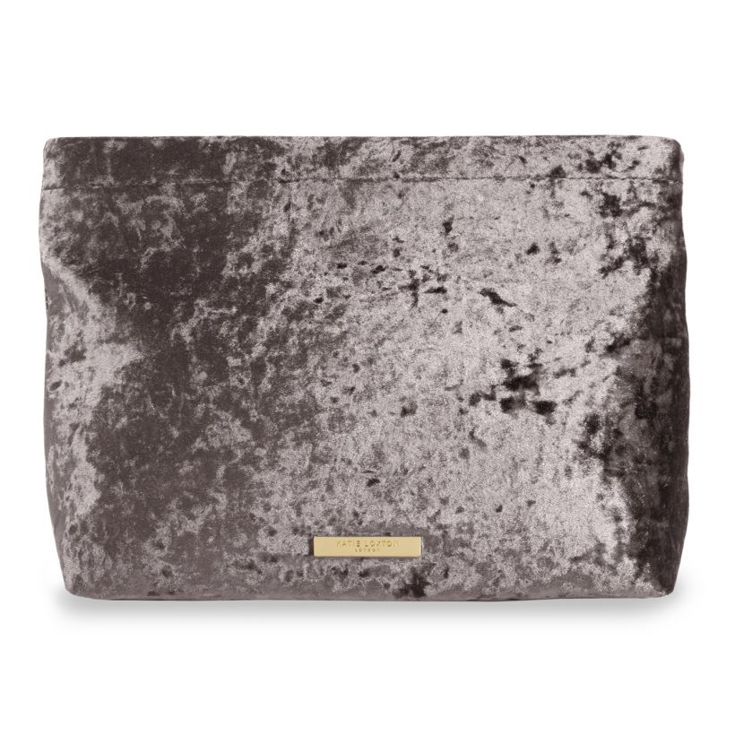 Katie Loxton- Valentina Velvet Clutch Bag- Crushed Taupe