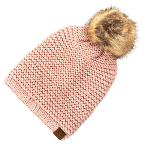 Horizontal Knit Faux Fur Pom Back Drawstring- Light Pink