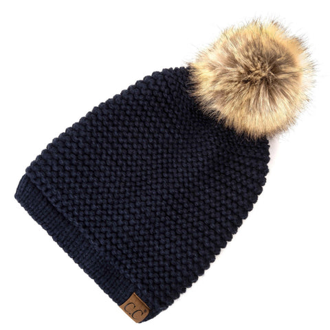 Horizontal Knit Faux Fur Pom Back Drawstring- Navy
