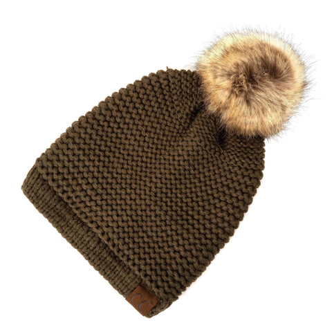 Horizontal Knit Faux Fur Pom Back Drawstring- Olive