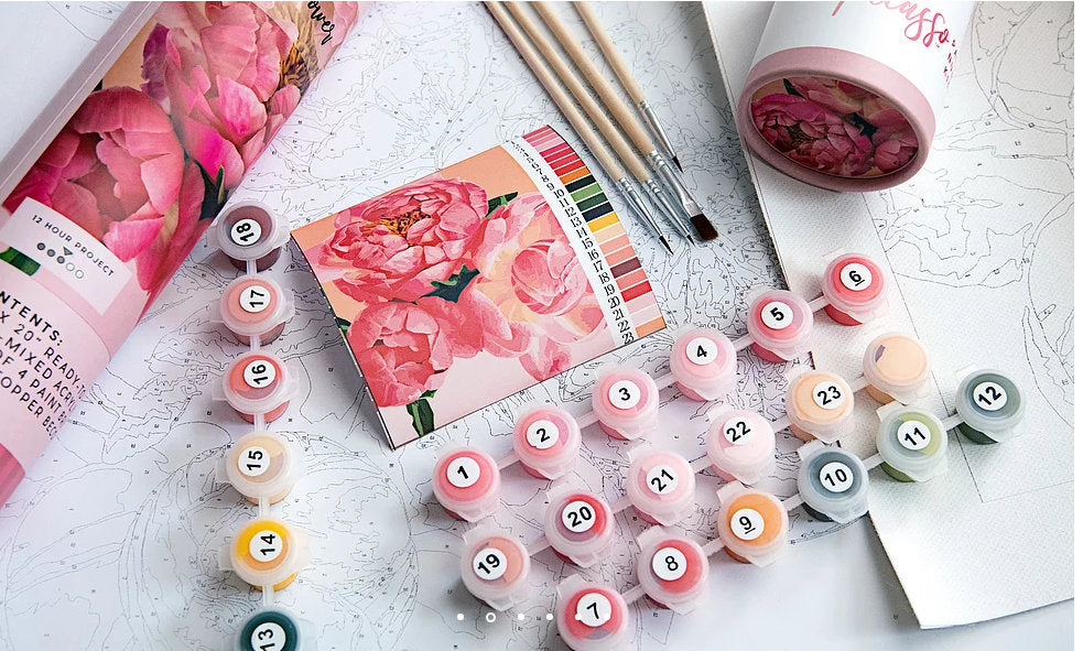 Paint By Number Kit- Zinnias