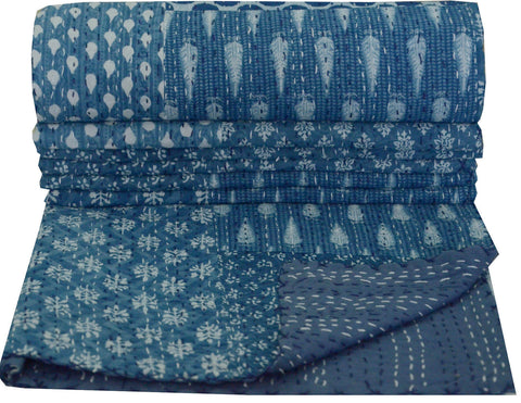 Kantha Throw-Blue & White Patchwork