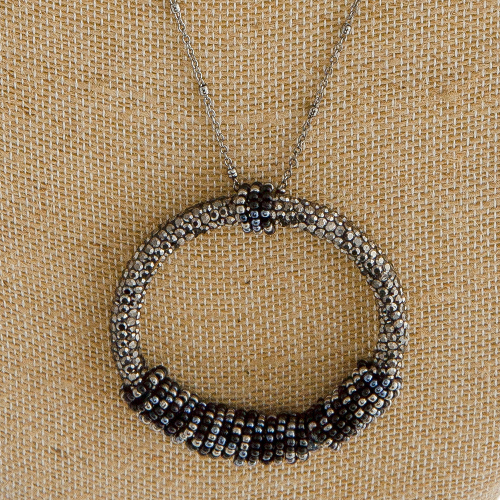 Long, Satellite Chain Necklace Black/Silver