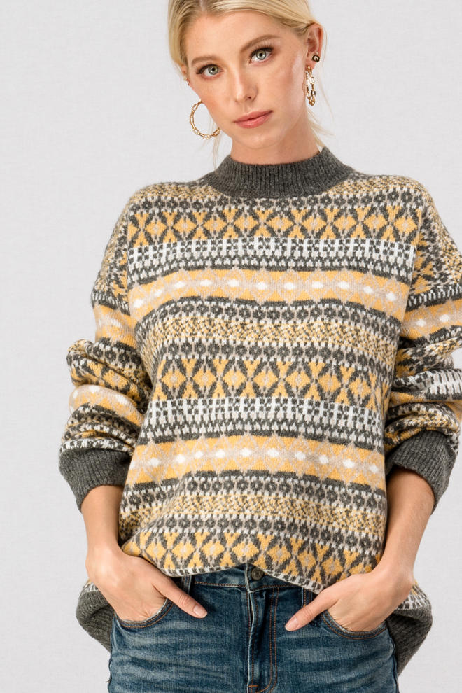Classic Ski Sweater- Mustard Mix