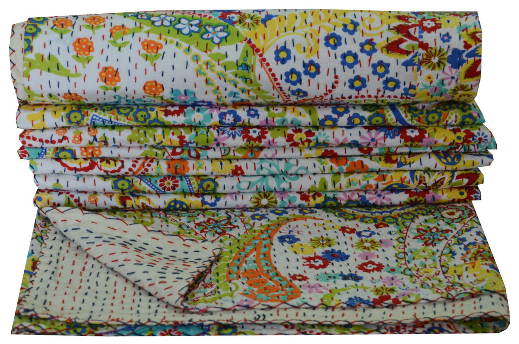Kantha Throw-Blanc