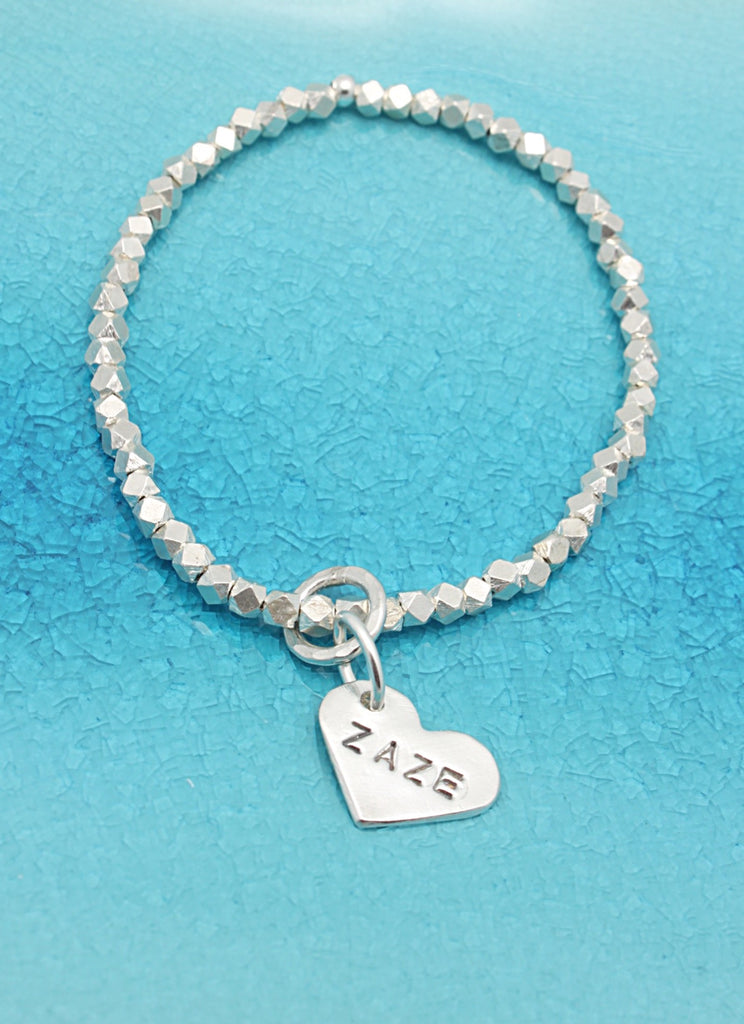One Heart Fine Silver Charm STRETCH Bracelet