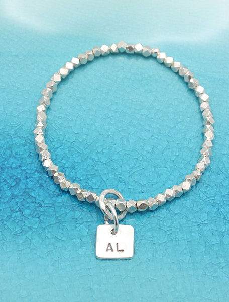One Square Fine Silver Charm STRETCH Bracelet