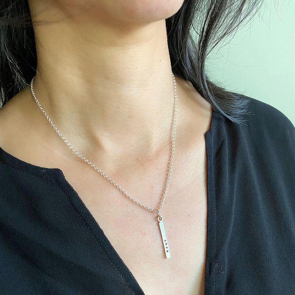1 Short Bar - 3mm Sterling Silver Vertical Pendant Necklace