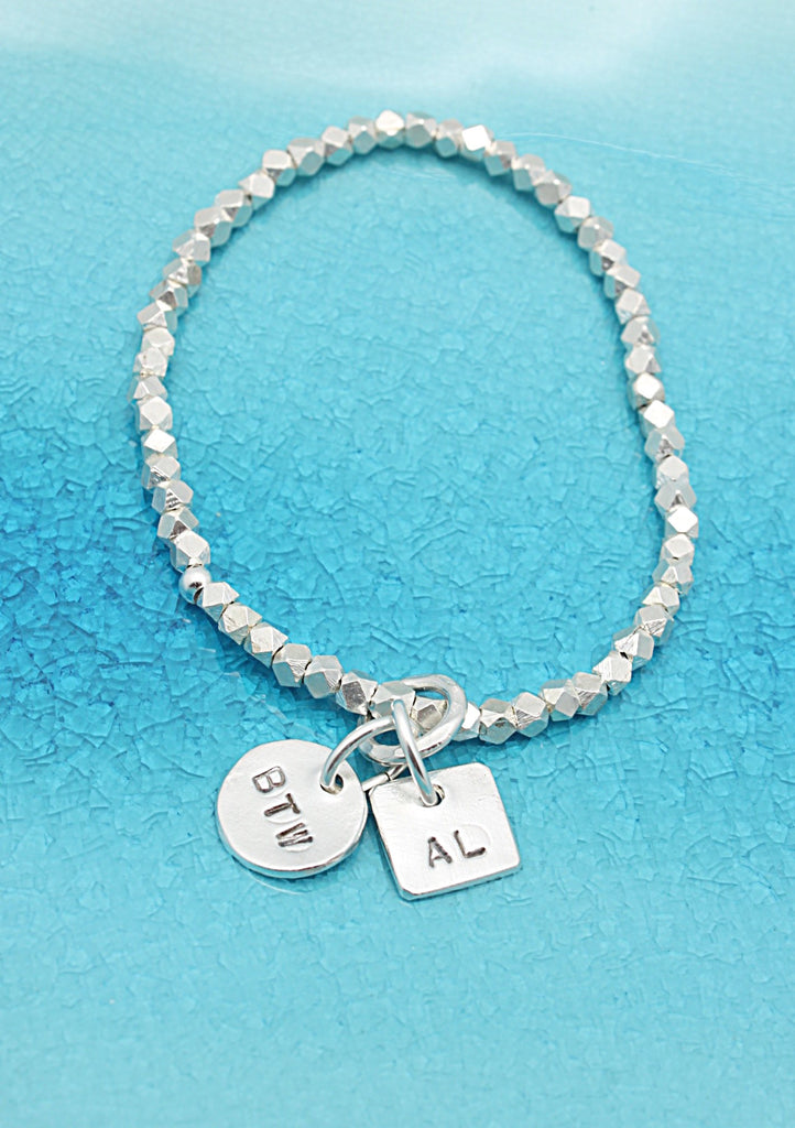 2 CHARMS: Circle & Square Charms STRETCH Bracelet