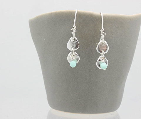 Silver Medallion Petite Earrings & Mint Blue Swarovski Crystal Beading