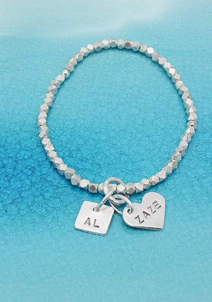 2 CHARMS: Square & Heart Charm STRETCH Bracelet