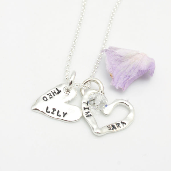 Layered Two HEARTS Pendant Necklace