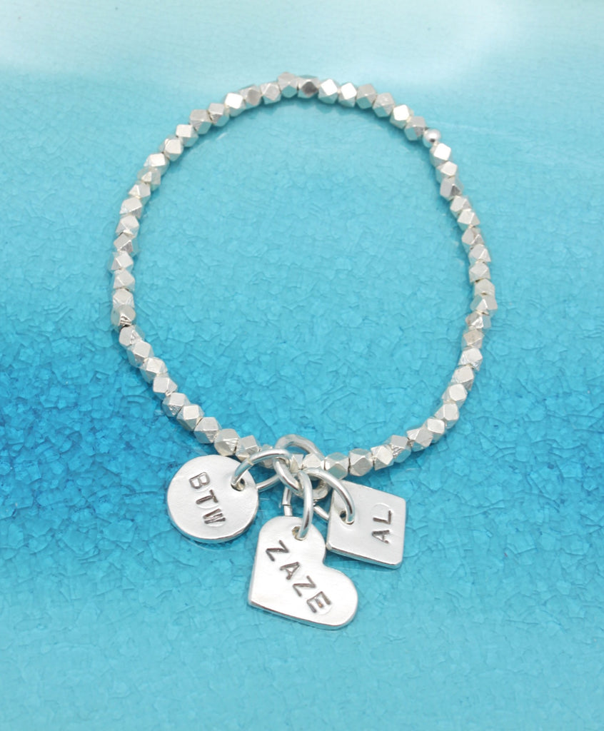 Three Fine Silver Charm STRETCH Bracelet
