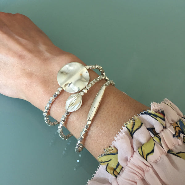 Hammered Bar Fine Silver Stretch Bracelet