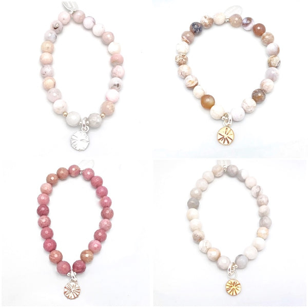 LUNA Collection:  Pink Opal & Silver Estrella Stretch Bracelet