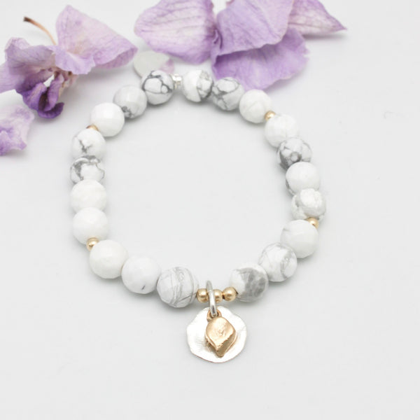 Arctic Blossoms:  White Howlite with Silver Aura Charm