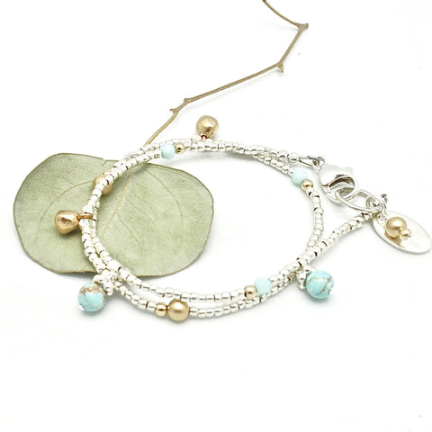 Athena Turquoise Double Wrap Bracelet or Necklace with Extender