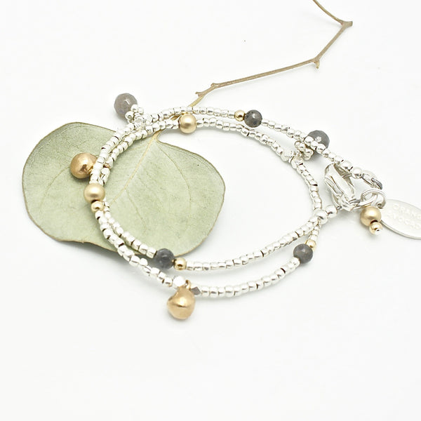Athena Labradorite Double Wrap Bracelet or Necklace with Extender