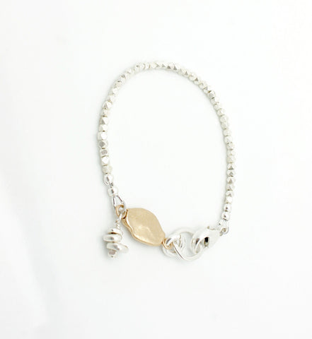 Pebble Bracelet with Silver Pebble Charm