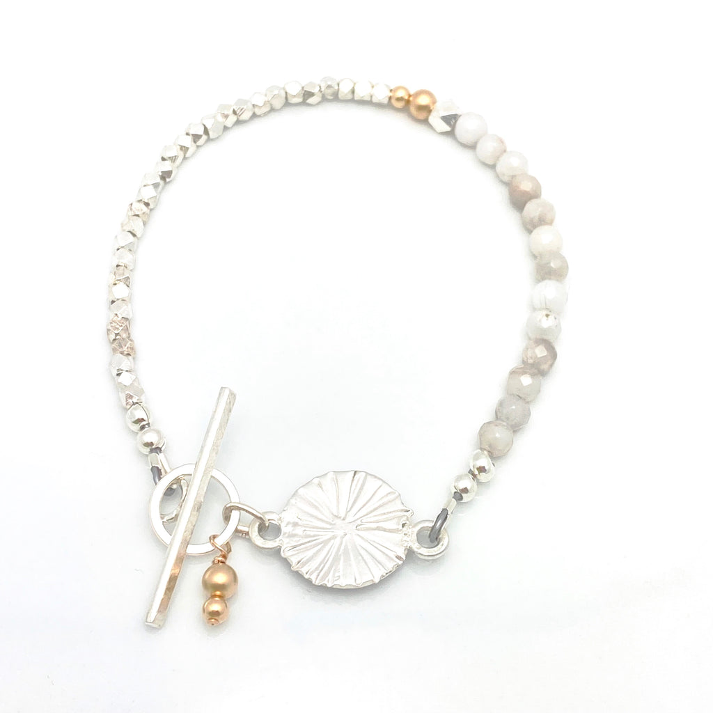 LUNA Collection: Estrella Moonstone & Fine Silver Toggle Bracelet